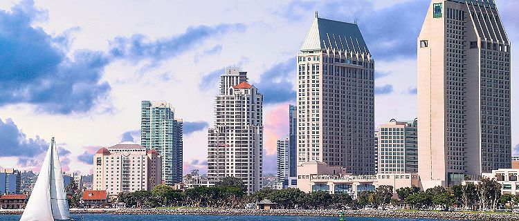 Downtown bay skyline of San Diego, California