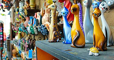 Colorful cat figurines in old town San Diego, California