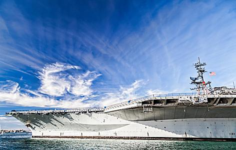 USS midway aircraft carrier in beautiful sky, in San Diego, California