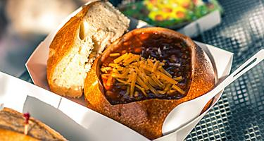 Sour Dough Bread Soup with cheese, famous in San Francisco, California