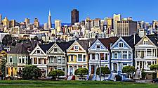 View of Painted Ladies from Alamo Square in San Francisco, California