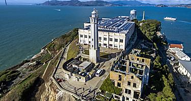 Aerial view of the prison island of Alcatraz in San Francisco, California