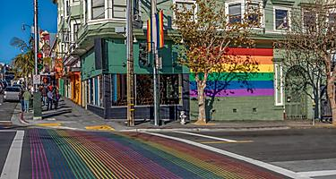 Castro District Rainbow Crosswalk intersection in San Francisco, California