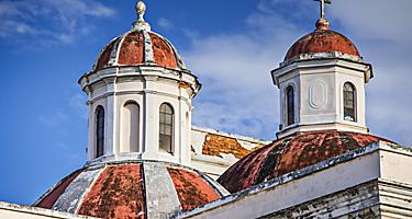 Closeup of the Metropolitan Cathedral Basilica of Saint John the Baptist, in San Juan, Puerto Rico