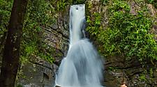 Man standing in a waterfall in El Yunque National Rainforest, San Juan, Puerto Rico