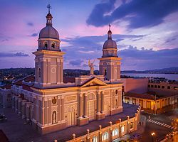 The Cathedral Basilica of Our Lady of the Assumption during sunset in Santiago, Cuba