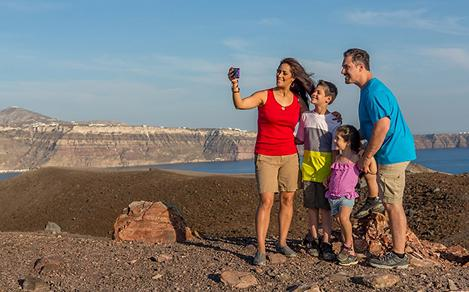 Greece Santorini Family Taking Selfie