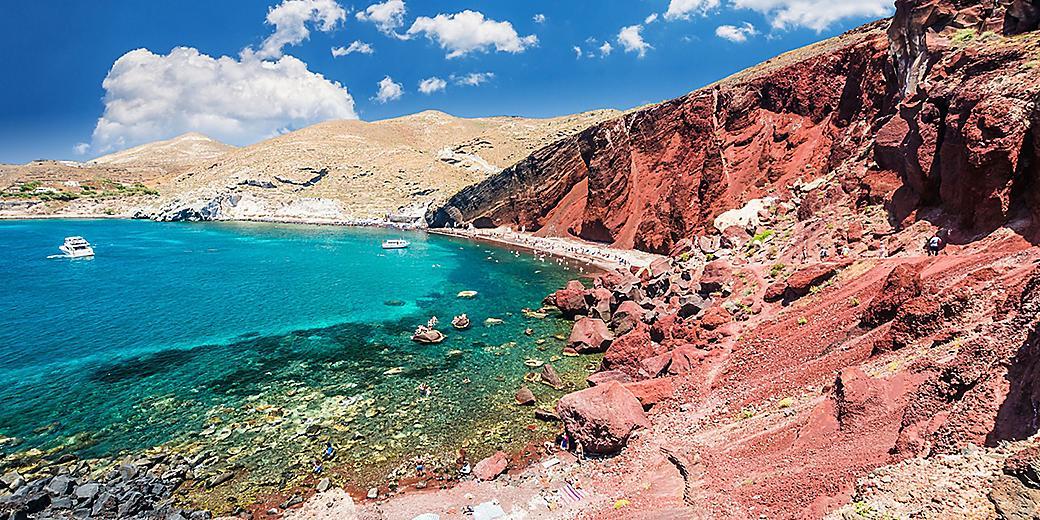Greece Santorini Red Beach Cliffs