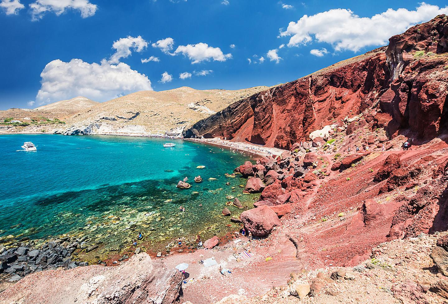 Greece Santorini Red Beach Cliffs