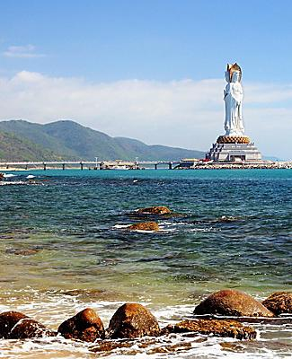 A statue of Quan Yin on the coast of Sanya, China