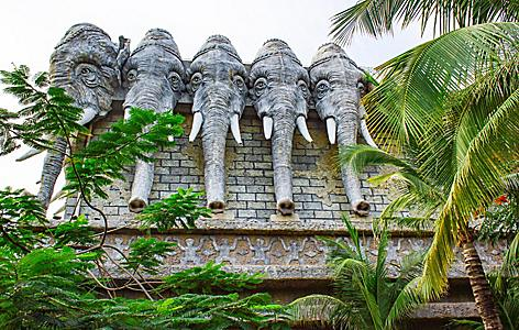Elephant statues at the Romantic Park in Sanya, China