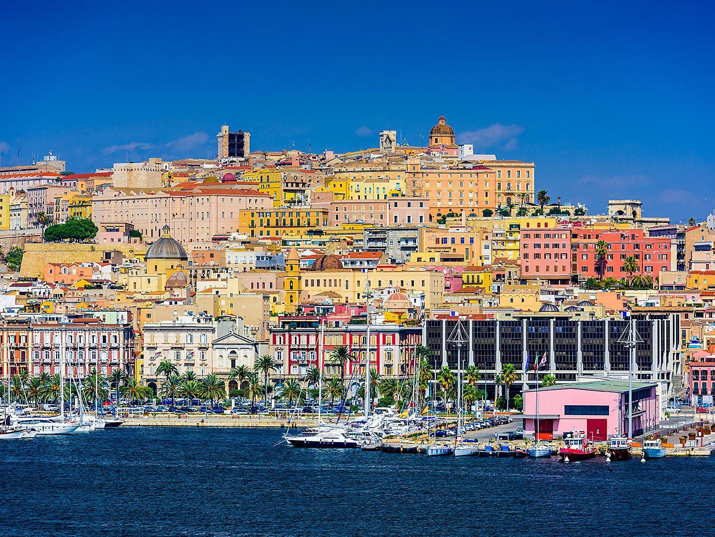 Sardinia (Cagliari),Italy, View Of City From Sea