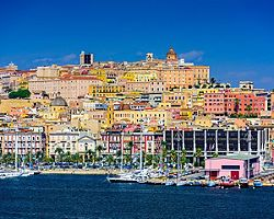 Coastal view of the city of Cagliari in Sardinia