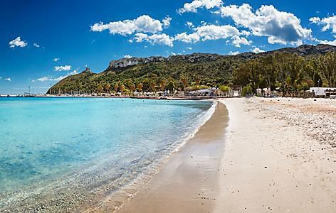 Poetto Beach in Cagliari, Sardinia, Italy.
