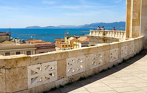 View of the sea from the Saint Remy Bastion in Cagliari, Sardinia