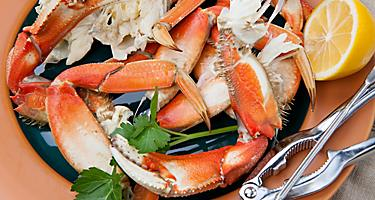 Assorted Dungeness crab legs with butter mustard sauce and fresh lemons in Seattle, Washington