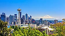 Seattle downton skyline with Space Needle and Mount Rainer in Seattle, Washington