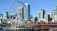 Seattle Great Wheel and skyline at the pier in Seattle, Washington