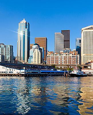 Seattle skyline viewed from the water, Seattle, Washington
