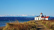 A hiking path to West Point Light lighthouse in Seattle, Washington