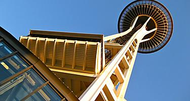 View of the Space Needle from below in Seattle, Washington