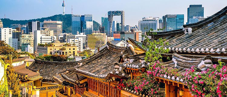 View of Bukchon Hanok village and the city in Seoul, South Korea