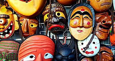 Traditional wooden Hahoe masks in Seoul, South Korea