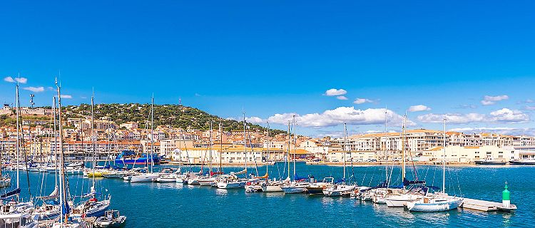A panoramic harbor view in Sete, France