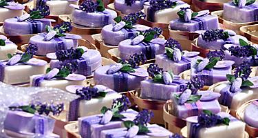 An assortment of lavender soaps in France