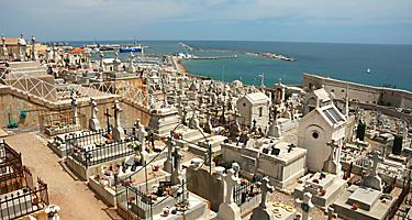 A coastal graveyard overlooking the ocean in Sete, France
