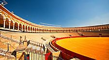 A bull fighting arena is Seville, Spain