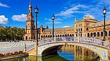 A canal going through the Spain Square in Seville