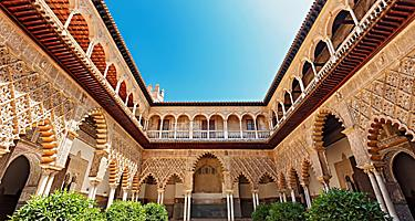 View of the courtyard in the Alcazar Palace
