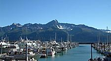 Seward Alaska marine with a breathtaking view of the snow mountains in the background.