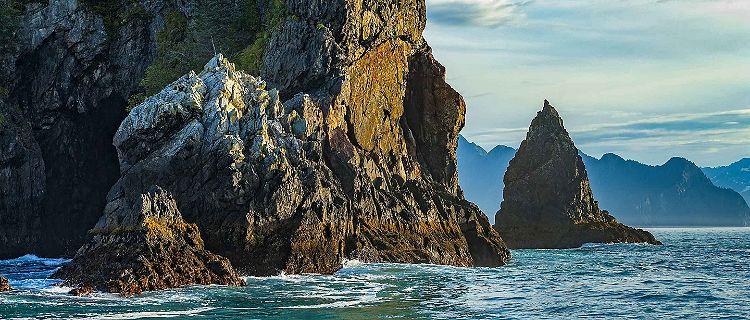 Resurrection Bay Mountain Side Ocean Kayaking Nature, Seward, Alaska