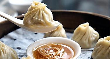 Dumplings with dip in Shanghai, China