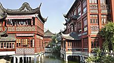 Beautiful river scene of Old Chinatown in Shanghai, China