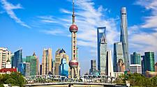 View of historical Waibaidu bridge and skyline of Shanghai, China