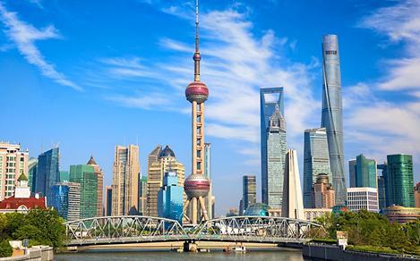 View of historical Waibaidu bridge and skyline of Shanghai, China