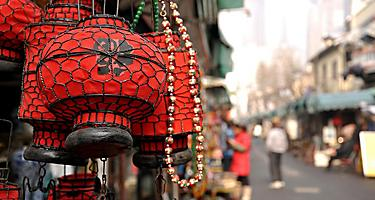 Red Chinese lanterns at the antique market in Shanghai, China