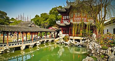 Traditional pavillions in Yuyuan Gardens in Shanghai, China