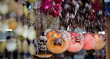 Blowfish souvenirs for sale at a market