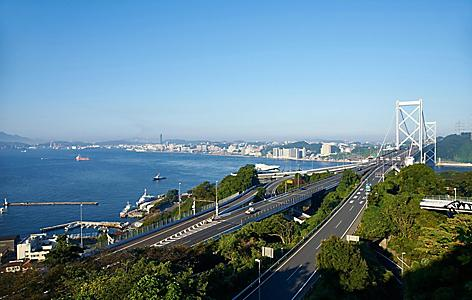 Panoramic view fo the Kanmon bridge in Shimonoseki, Japan