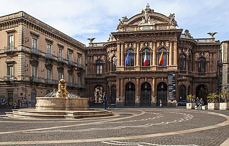 View of the Bellini Theater Square in Sicily (Catania), Italy