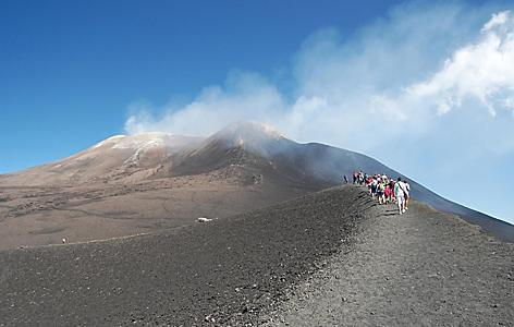 A group climbing Mt. Etna in Sicily