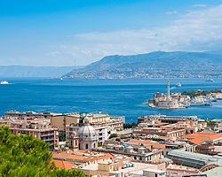 Aerial view of Sicily (Messina), Italy