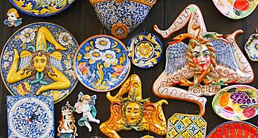 Assorted colorful ceramic souvenirs