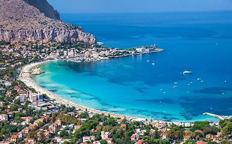 An aerial view of the coast of Palermo in Sicily