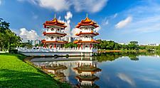 Beautiful day at Chinese Garden Twin Pagoda in Singapore