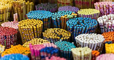 Colorful variety of chopsticks in a small shop in Chinatown, Singapore